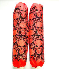 Shock Protector Covers Ski-Doo Bombadier BRP Orange Skulls Snowmobile Set 2