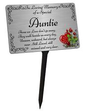 Auntie Memorial Plaque & Stake. Brushed Silver Waterproof garden grave