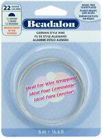 Beadalon German Style 1/2 Round Wire 22 Gauge Medium Temper Silver Plated 16.4ft