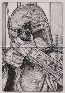 Star Wars ESB / Empire Illustrated Sketch Card, Boba Fett by Mikey Babinski