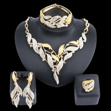 Women Leaves Necklace Earring Jewelry Set Gold Plated Crystal African Style Set