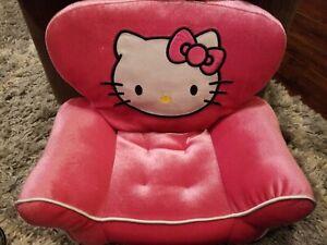 "BUILD A BEAR PINK VELOUR HELLO KITTY CAT CHAIR 14"" SOFA PLUSH Retired & ROBE"
