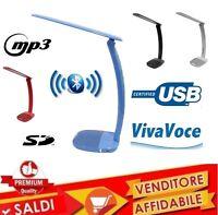 LAMPADA LED DA SCRIVANIA CON cassa BLUETOOTH MUSICA RADIO USB SD TELEFONO