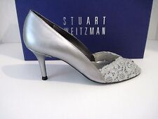 "Stuart Weitzman Aluminum Chantilly Lace ""Chantelle"" Swarovski Trim Pump 7 N NEW"