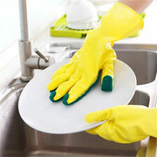 Magic Silicone Rubber Dish Washing Gloves 2 in 1 Scrubber Cleaning Scrubbing New