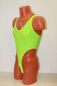 Bilelika 151-50 Lime Neon Spandex Thong Men Leotard Hole in Crotch Size M