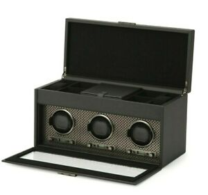 $1719 WOLF AXIS TRIPLE WATCH WINDER WITH STORAGE COLOR POWDERCOAT BLACK LEATHER