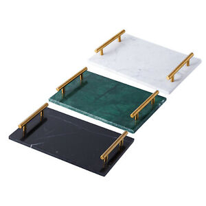 Natural Rectangular Marble Tray with Gold Metal Handles for Kitchen, Bathroom,