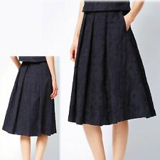 M&S Midi A-LINE Pleated LACE SKIRT ~ Size 14 ~ NAVY BLUE