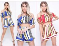 Love Islands Hayley Hughes Co-ord Striped Bardot Crop Top Shorts Coords Set Fril