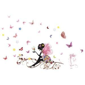 Wall Sticker Fairy Flower Butterfly Vinyl Art Decal Girl Decoration Portable New