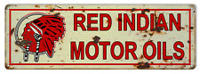Red Indian Man Cave Reproduction Gas Station Metal Sign - 9 in x 30 In RVG243