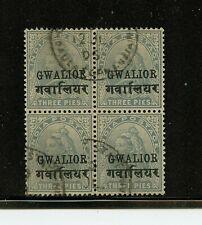 India-Gwalior #30 (IN077) block of 4, Queen Victoria 3p gray 1904, U,FVF,CV$360.