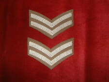 British Army Corporals stripes badge embroidered white on khaki pair