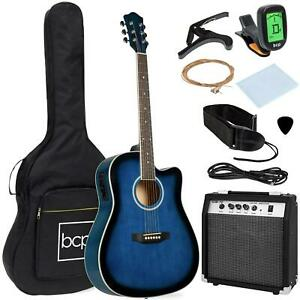 41 Inch Full Size Acoustic Electric Cutaway Guitar Set W/ 10W Amp And Case