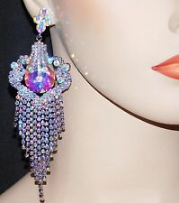 Pretty Silver With Ab Iridescent Rhinestone Crystal Chandelier Earrings