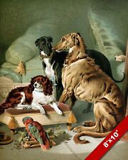 THE HIGH SOCIETY PET CLUB DOGS & PARROT DOG ART PAINTING REAL CANVAS PRINT