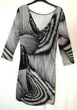 BLACK WHITE STRIPED LADIES CASUAL STRETCH BODYCON MINI DRESS SIZE 12 NEXT SEQUIN