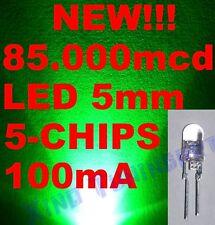 Nr. 10 LED VERDI GREEN 5mm 5 CHIPS 85,000mcd 0,5W 60°