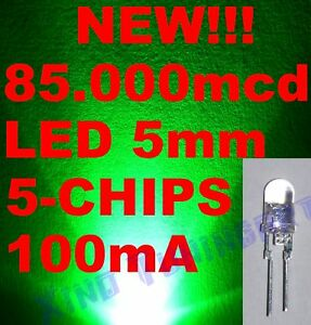 Nr. 10 LED VERDI GREEN 5mm 5 CHIPS 85,000mcd 0,5W 60°