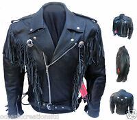 Hombre Negro Motocicleta Moto Vaquero Borla Flequillo Cruiser Piel Cuero SP