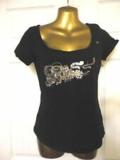 Mex Black Beaded T Shirt Size S