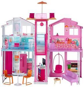 Barbie 3-Etagen Deluxe-Stadthaus mit 4 Zimmern Mattel Traumhaus DLY32 NEU & OVP