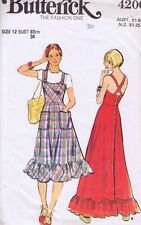 Vintage Ladies Dress Sewing Pattern Butterick 1970s Retro Misses Size 12
