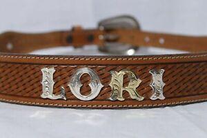 "Tony Lama Women's Brown Weaved Leather ""Lori"" Personalized Medallion Belt sz 30"