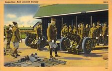 WW2 Era, US Army Inspection of Anti-Aircraft Battery, Old Postcard