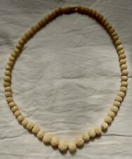 True Vintage Carved Bovine Bone Necklace Graduated Beads 48 cms long