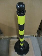 "Mr. Chain Stripped Medium Duty Stanchion, Height: 40"" Black & Yellow, New, (6Pk)"