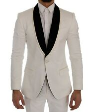 Dolce & Gabbana Suit Slim Fit White Brocade Smoking Tuxedo Eu52 / Us42