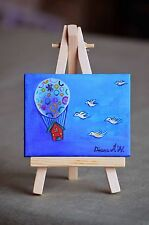 Original Acrylic Miniature Painting, Flying Dream, House in the sky and Baloon