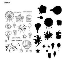 Party Theme Silicone Clear Stamp&Cutting Dies Stencil for Scrapbook Card Decor