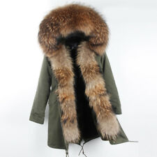Parka real racoon fur Nyctereutes procyon Hood and placket faux fur lining
