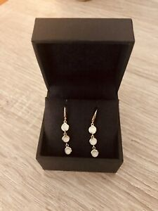 Astley Clarke Stilla Triple Moonstone Drop Earrings New With Box And Pouch