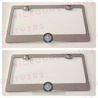 2x 3D Mercedes Benz Stainless Steel Chrome Finished License Plate Frame