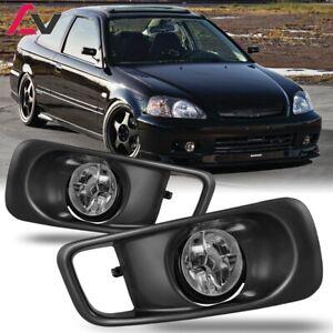 For Honda Civic 99-00 Clear Lens Pair Bumper Fog Light Lamp+Wiring+Switch Kit