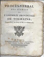 Procès-Verbal des Séances de l'Assemblée Provinciale de TOURAINE 1787 LUYNES #3