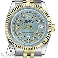 Ice Blue Mens Rolex 36mm Datejust 18K/SS 2Tone String Diamond Dial Jubilee Watch