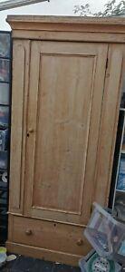 Antique pine single wardrobe