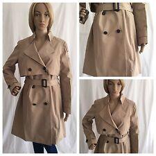 Zara Camel Beige Short Classic Belted Trench Coat Size UK L