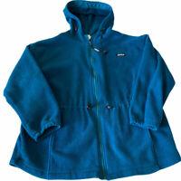 Campmor Vintage Womens Hooded Fleece Jacket Teal Blue Full Zip Outdoor Large L