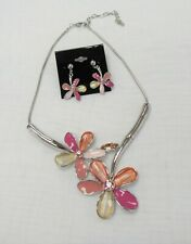 Chunky Statement Jewelry Peach Pink Beige Flower Floral Necklace Earrings Set