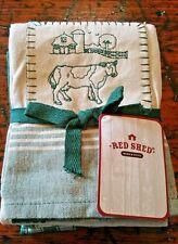 Red Shed Barn Farming Cow Ranch Green Tan Kitchen Dish Tea Towels 3 pcs NWT 1D