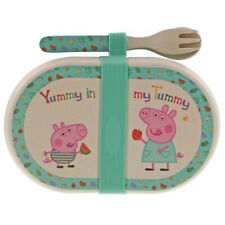 Enesco Peppa Pig Bamboo Snack Box with Cutlery Set - BOXED - A29658