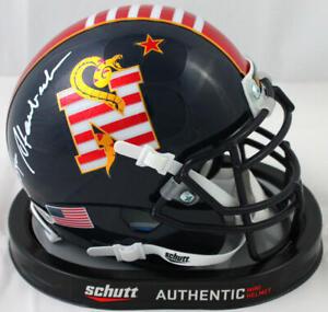 Roger Staubach Autographed Navy Don't Tread On Me Mini Helmet - Beckett W Auth