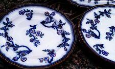 (3) 1850s Gaudy Ironstone FLOW BLUE DINNER PLATES Adams Co. Staffordshire
