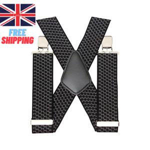 50mm Adjustable Mens Braces Highly Elastic Suspenders Heavy Duty Trouser Style.